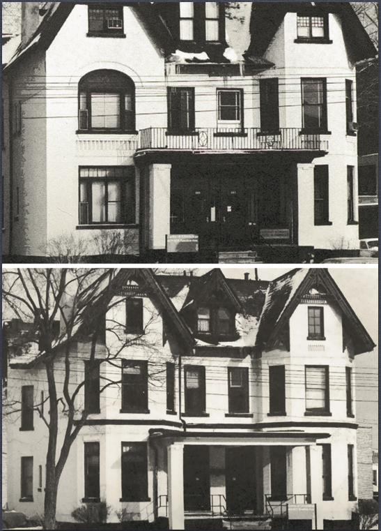 black and white photos of the Centre's houses